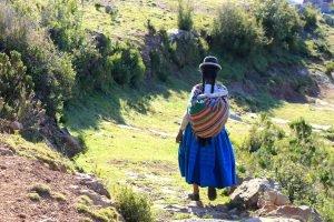 Portrait d'une cholita sur l'Ile du Soleil, lac Titicaca.